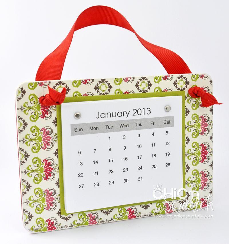 Coaster calendar side view